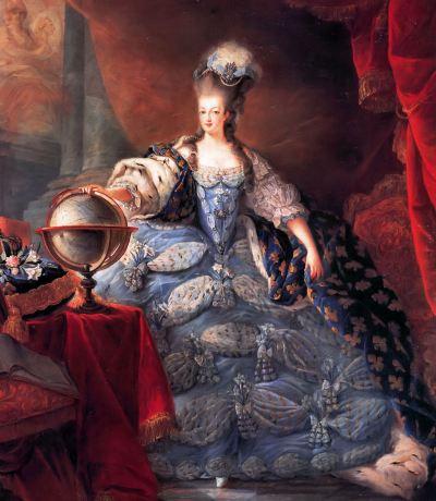 Maria Antonieta trajando vestido de corte - Jean-Baptiste Gautier-Dagoty (1775)