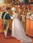 Detalhe da gravura que retrata o desembarque da Princesa Real no Brasil, segundo estudo de Jean-Baptiste Debret.
