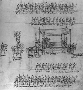 Visão aérea da coroação de Elizabeth I.