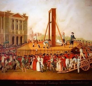 A Execução pela guilhotina: Maria Antonieta (por autor desconhecido).