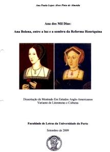 Folha de Rosto da Dissertação de Mestrado de Ana Paula Lopes Alves Pinto de Almeida.
