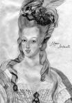 Maria Antonieta, segundo obra de Jean-Baptiste Gautier-Dagoty (desenho de Renato Drummond Tapioca Neto).