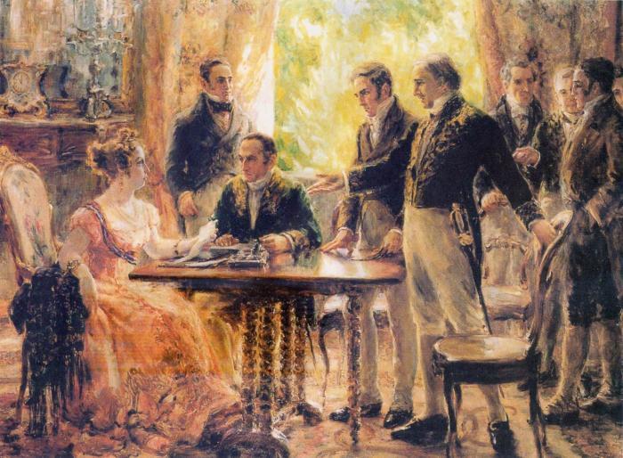 A regente Leopoldina presidindo sessão do Conselho de Estado, por Georgina de Albuquerque.