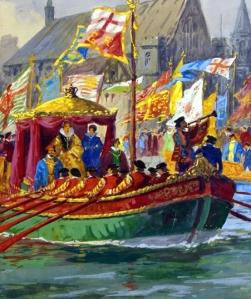 Elizabeth subindo o Tâmisa de barco em direção à Torre de Londres, por Ellis Silas (1953)
