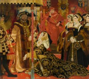 Catarina implora ao seu marido por justiça, em Blackfriars Hall.