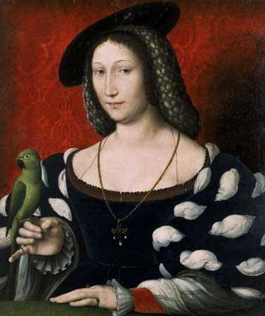 """""""Uma princesa que sempre amei de verdade"""", disse Ana Bolena à Marguerite d'Angoulême (tela de Jean Clouet)."""