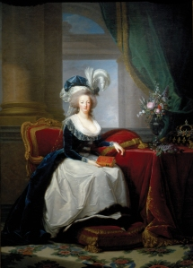 Após a materinade, Maria Antonieta mudou o estilo de suas roupas. De juvenis e provocantes, para trajes mais conservadores, como podemos observar neste retrato pintado por Elisabeth Vigée Le Brun (1786).