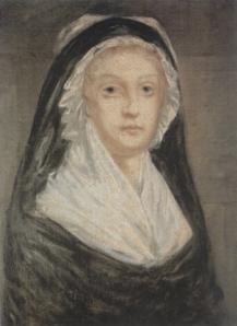 Maria Antonieta em trajes de viúva, segundo obra de Alexandre Kucharski.