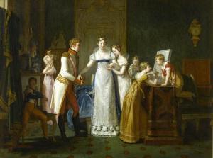 O adeus à Maria Luisa, Auzou Pauline (Leopoldina abraçada à irmã, no centro do retrato).