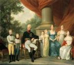 A Família do Imperador Francisco I, por Josef Kreutzinger (Leopoldina em pé ao lado direito de sua mãe Maria Tereza).