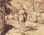A Imperatriz D. Leopoldina, desenhada de costas por Charles Landseer, enquanto andava a cavalo.