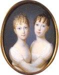 As pequenas arquiduquesas: Maria Leopoldina (à esquerda) e Maria Clementina (à direita)