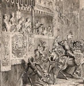 Ilustração do século XIX mostrando Ana Bolena soltando o seu lenço para henry Norrys durante o último torneio e também última vez em que vira Henrique (por George Cruikshank).
