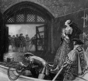 Ana Bolena na barca atravessando os portões da Torre, por Millar Watt.