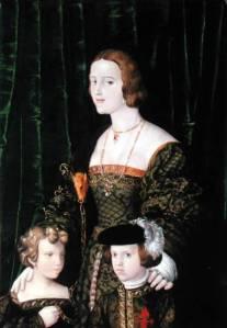 Juana I de castela, com seus filhos, por Nicolaus Alexander Mair von Landshut.