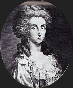 Nicole d'Oliva, uma atriz de rua contratada por Jeanne de La Motte para se passar por Maria Antonieta.