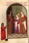 Ilustração do Livro de Horas de D. Juana, mostrando-a em meio a seus pais, os reis Fernando e Isabel.