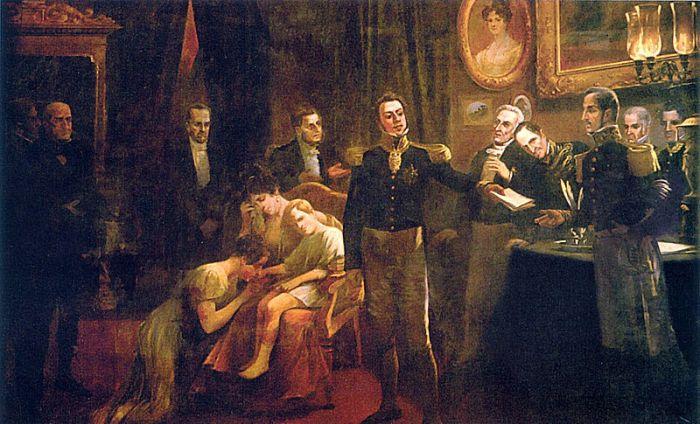 D. Pedro I entrega sua abdicação. Atrás dele a Imperatriz D. Amélia segura o pequeno Pedro II ao colo.