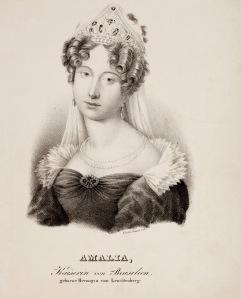 D. Amélia de Leuchtenberg como Imperatriz do Brasil (litografia de Cäcilie Brand).