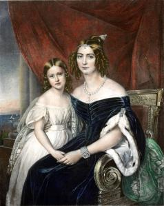 A duquesa de Bragança, D. Amélia, e sua fila, princesa Maria Amélia, por Fidelino José da Silva.