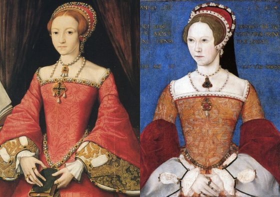 As filhas de Henrique VIII, princesa Elizabeth e Maria (respectivamente).