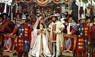 Cena da procissão de coroação de Ana Bolena.