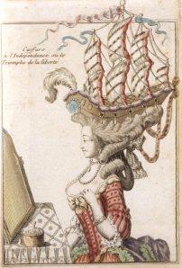 Maria Antonieta com um pouf à la Belle Poule: um intrincado penteado exibindo uma fragata francesa que lograra vitória decisiva contra os britânicos em junho de 1778.