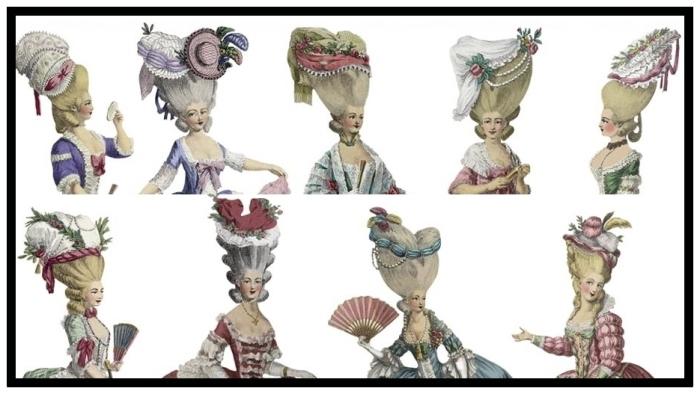 Modelos de poufs utilizados pelas aristocratas parisienses durante as três últimas décadas do século XVIII.