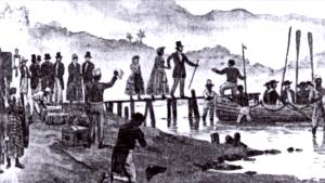 Partida de D. Pedro, duque de Bragança, D, Amélia de Leuchtenberg, e D. Maria da Glória, na madrugada de sete de Abril de 1831.
