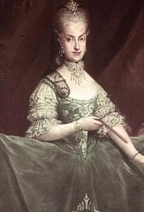 Maria Carolina, rainha de Nápoles e das Duas Sicílias; irmã predileta de Maria Antonieta e avó pleo lado materno da Imperatriz Leopoldina (quadro de Martin van Meytens).