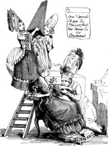 gravura mostrando criados subindo numa escada para preparar um pouf para a cama (c. 1778).