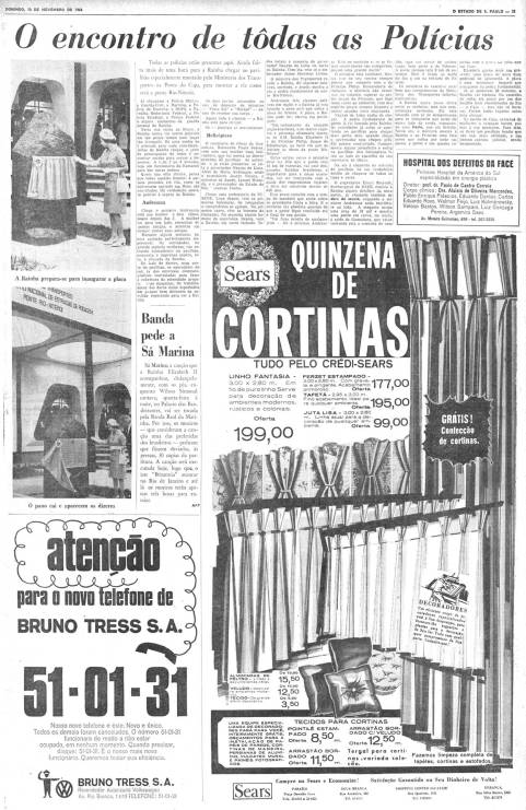 Jornal O Estado de São Paulo do dia 09/ 11/ 1968.