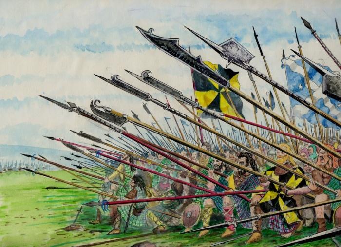 Tropas escocesas na batalha de Pinkie (1547).