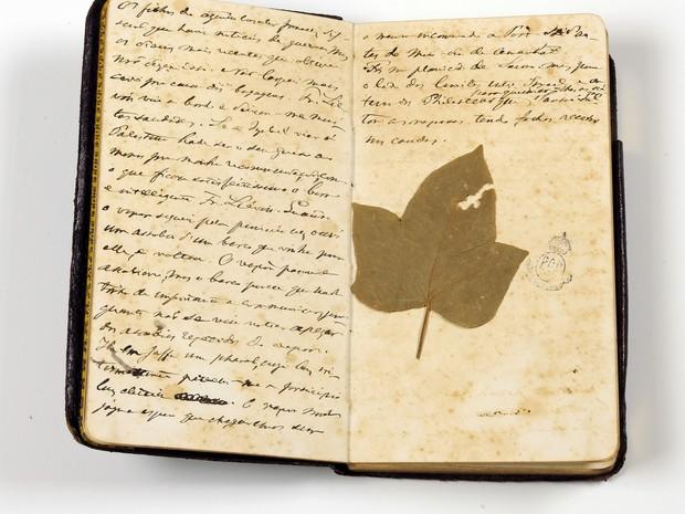 Caderneta de Viagem de D. Pedro II com suas anotações (foto: divulgação).