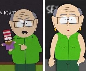 Na foto da esquerda, o professor Garrison com seu fantoche. Na direita, o mesmo professor após sua cirurgia de mudança de sexo, quando passou a ser a Sr.ª Garrison.