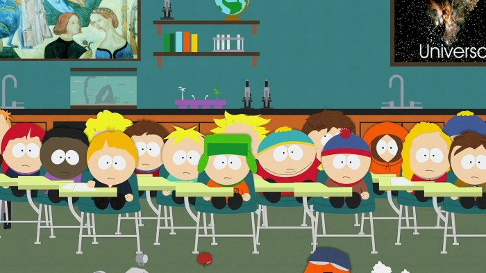 A classe do professor Garrison na Escola de South Park.