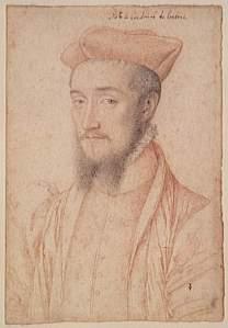 Charles, Cardeal de Lorena e tio de Mary Stuart (desenho de François Clouet).