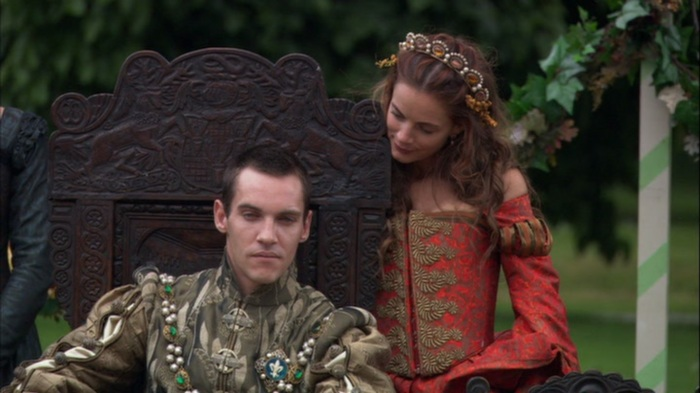 Em cena: Jonathan Rhys Meyers como Henrique VIII, e Gabrielle Anwar no papel da irmã do rei, Margaret.