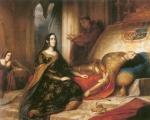 """Juana I de Castela no leito de morte de Felipe """"o Belo""""."""