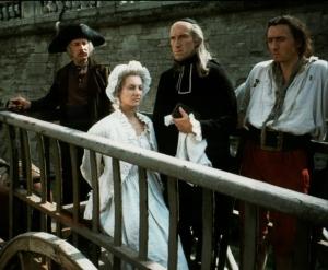 Cena final de L'Autrichienne: Maria Antonieta é levada para a  guilhotina.