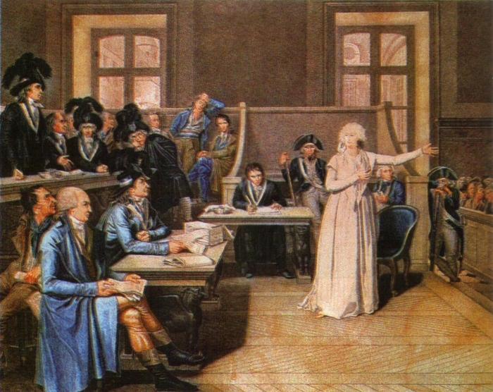 """""""Apelo a todas as mães que possam estar aqui presentes"""" (Gravura de Cazenove, 1794)."""