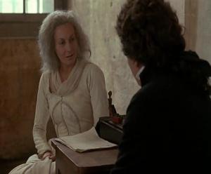 Em cena: Maria Antonieta (Ute Lemper) conversa com seu advogado, Chauveau-Lagarde (Frédéric van den Driessche).