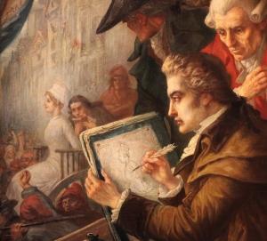 Tela do pintor Joseph-Emmanuel van den Büssche, retratando o momento em que David rascunhou a última imagem em vida de Maria Antonieta.
