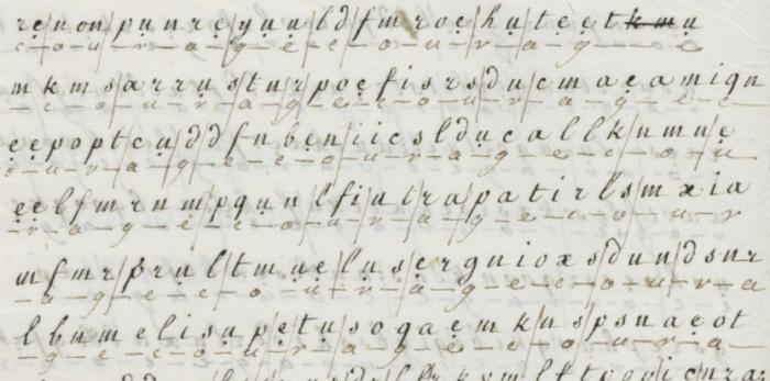 As letras codificadas, usadas por Maria Antonieta em suas correspondências.
