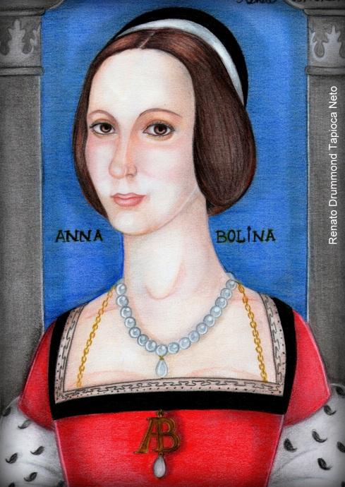 Ana Bolena como Marquesa de Pembroke (desenho e pintura de Renato Drummond Tapioca Neto).