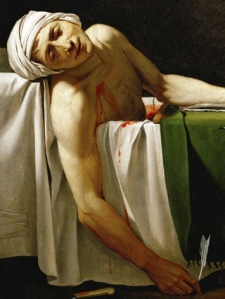 Detalhe da Morte de Marat, por Jacques Louis David.