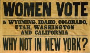 Panfleto de Campanha pela sufrágio feminino em Nova Iorque.