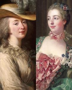 Madame du Barry (esquerda) e Madame de Pompadour (direita), amantes do rei Luís XV.