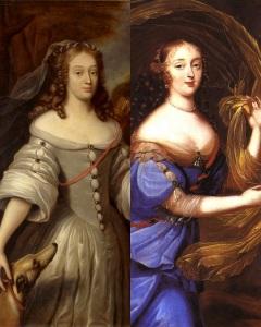 Louise de La Vallière (esquerda) e Madame de Montespan (direita), amantes do rei Luís XIV.