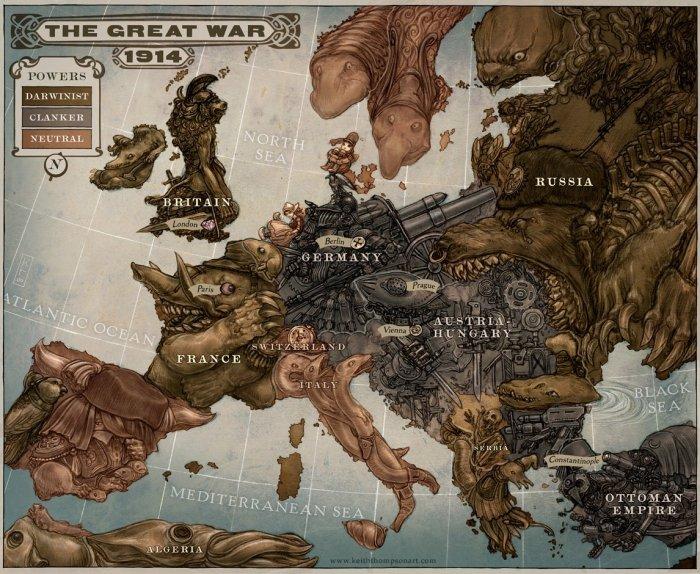 Ilustração do mapa político da Europa em 1914.